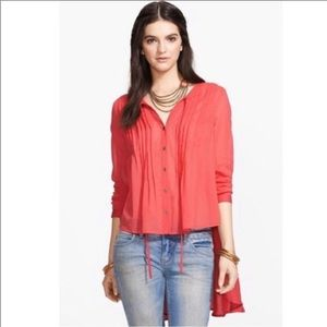 Free People Coral Sisters Of The Moon Blouse